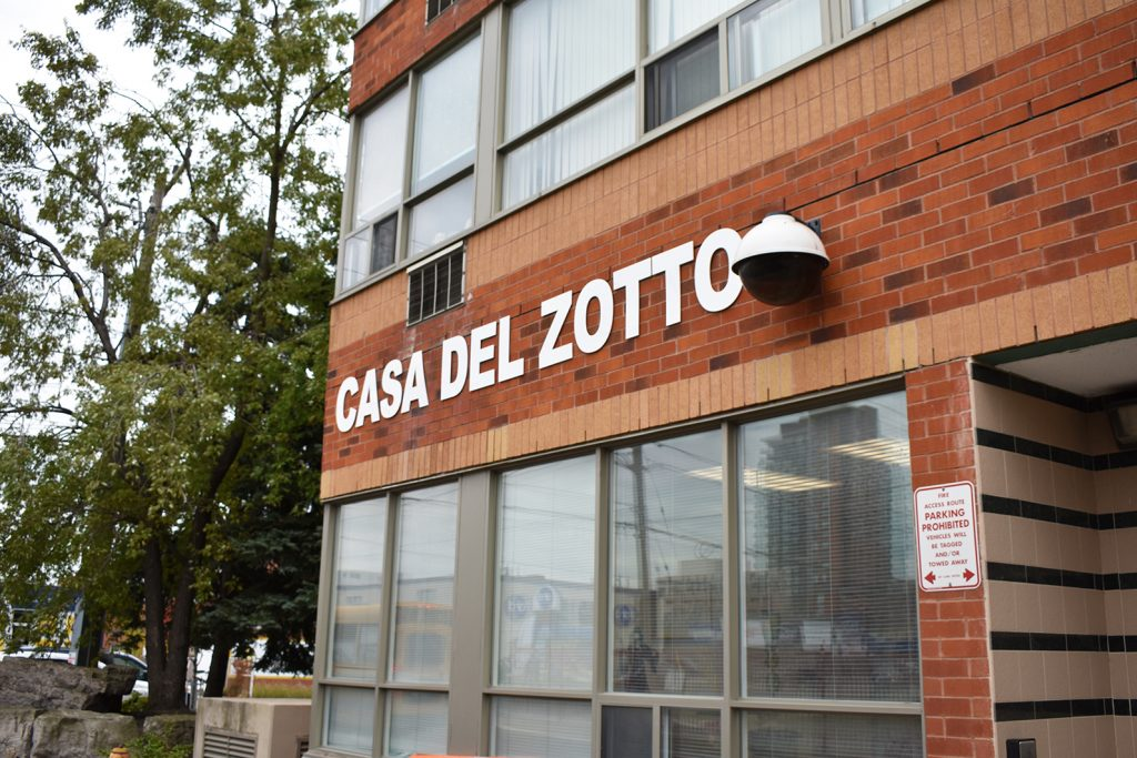 Exterior of the Casa Del Zotto apartment building.