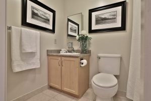 A bathroom in a Villa Charities apartment for independent seniors.