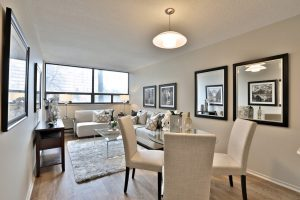 A living room with furnishings in a Villa Charities apartment for independent seniors.