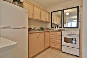 A kitchen in a Villa Charities apartment for independent seniors.