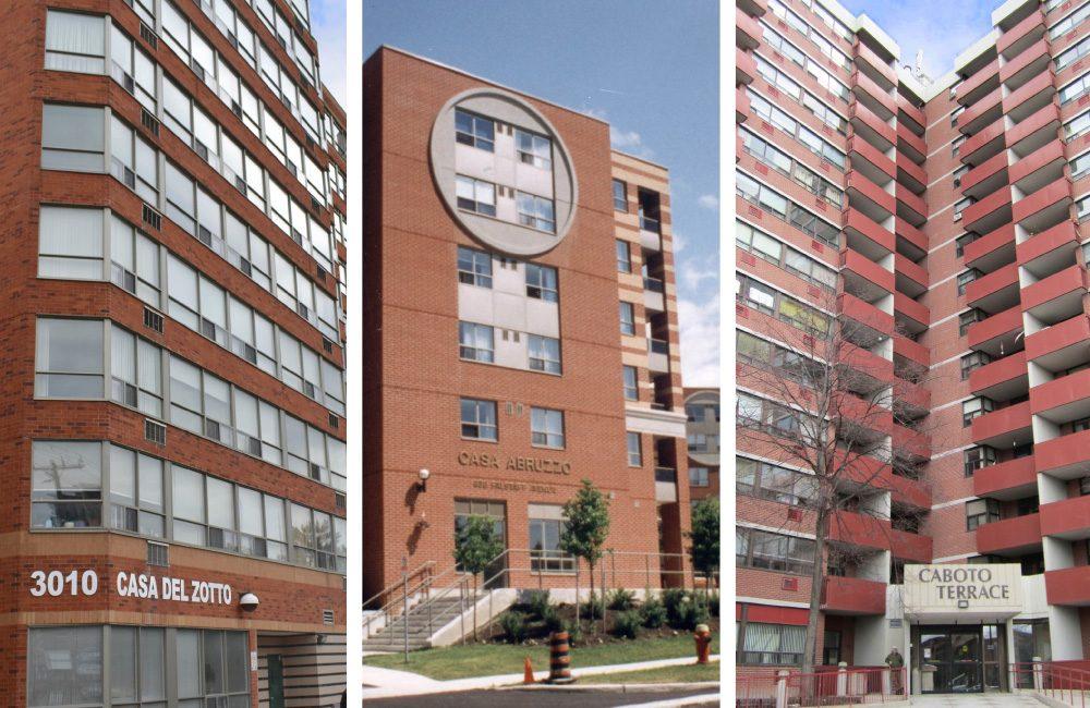 Exterior of the Casa Del Zotto, Casa Abruzzo and Caboto Terrace apartment buildings.