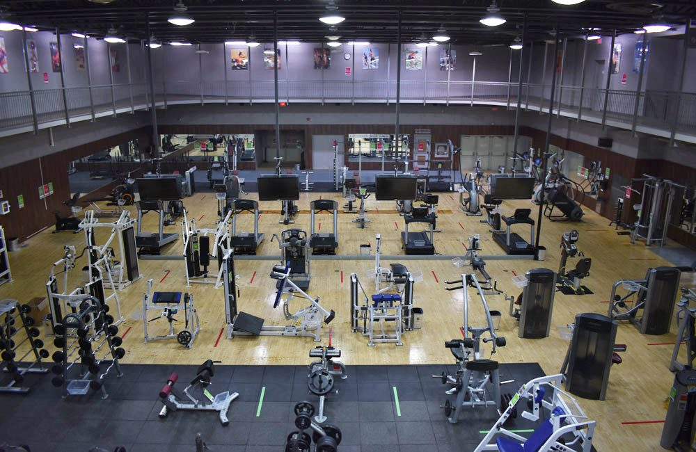 An overhead shot of the Main Gym at Columbus Centre Athletic Club showing fitness equipment.