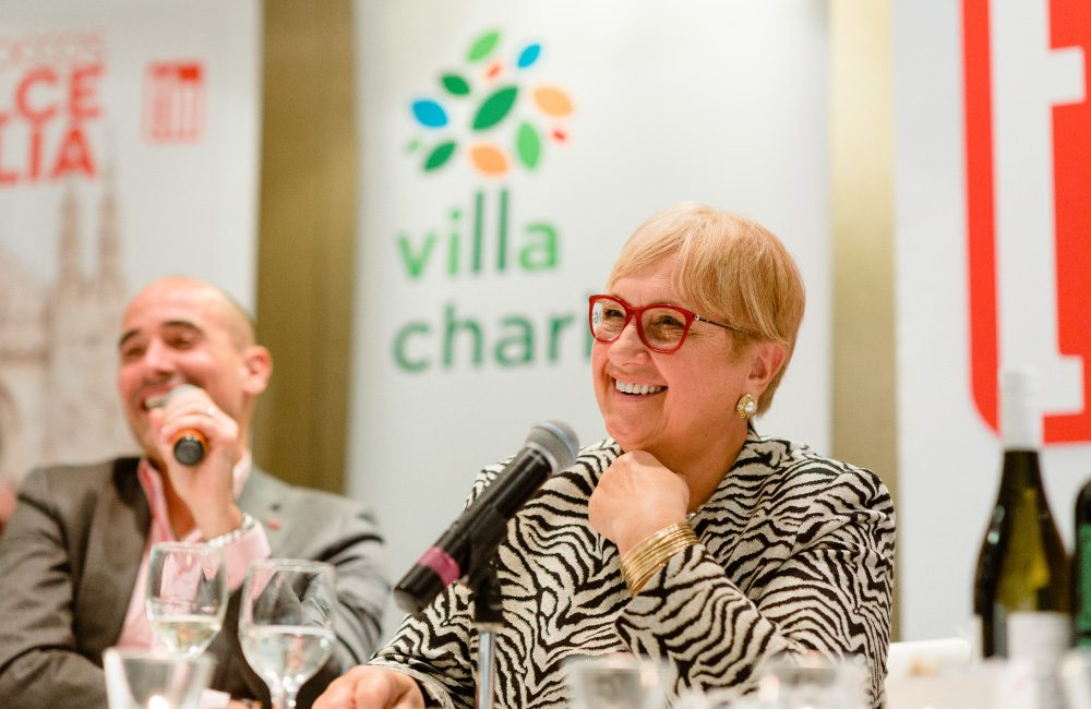 Celebrity chefs David Rocco and Lidia Bastianich answer questions during the TLN Experience event .