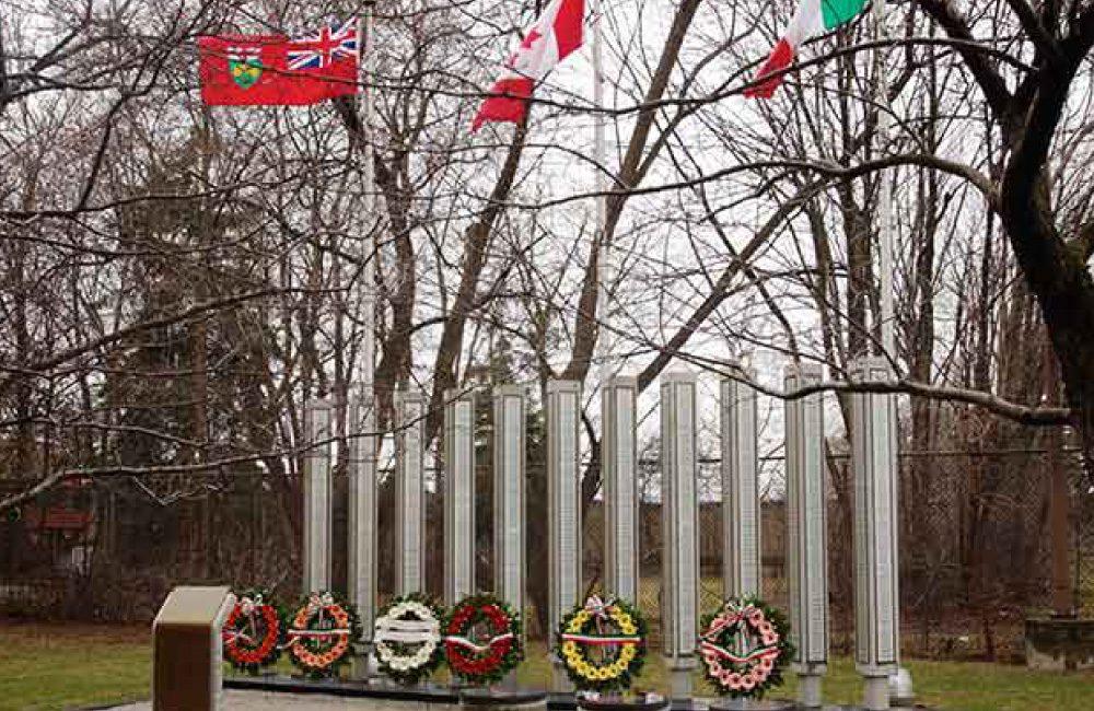 An outdoor memorial exhibit honouring Italian Fallen Workers, on the Villa Charities campus.