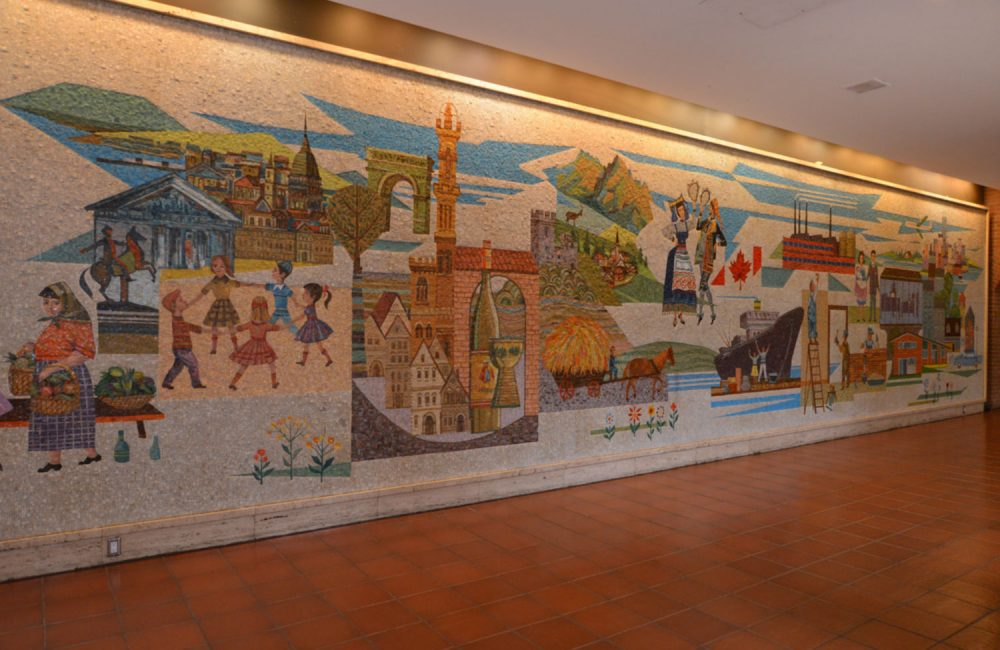The mosaic wall inside the Villa Colombo Toronto long-term care home.
