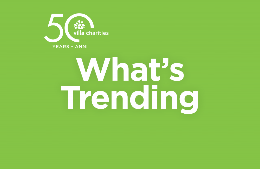 What's Trending Newsletter header featuring the Villa Charities 50th anniversary logo.